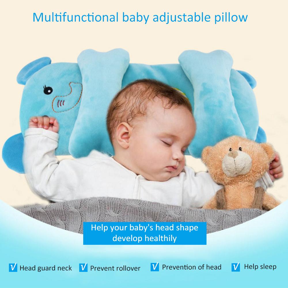 Newborn Baby Cute Cartoon Crib Pillow Children Flat Head Prevent Sleep Pillow Positioner Shaping Pillow Baby Bedding Supplies
