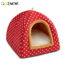 foldable Cat Bed Comfortable Cats Dog House with Removable Mattress Puppy Cave Kennel for cats