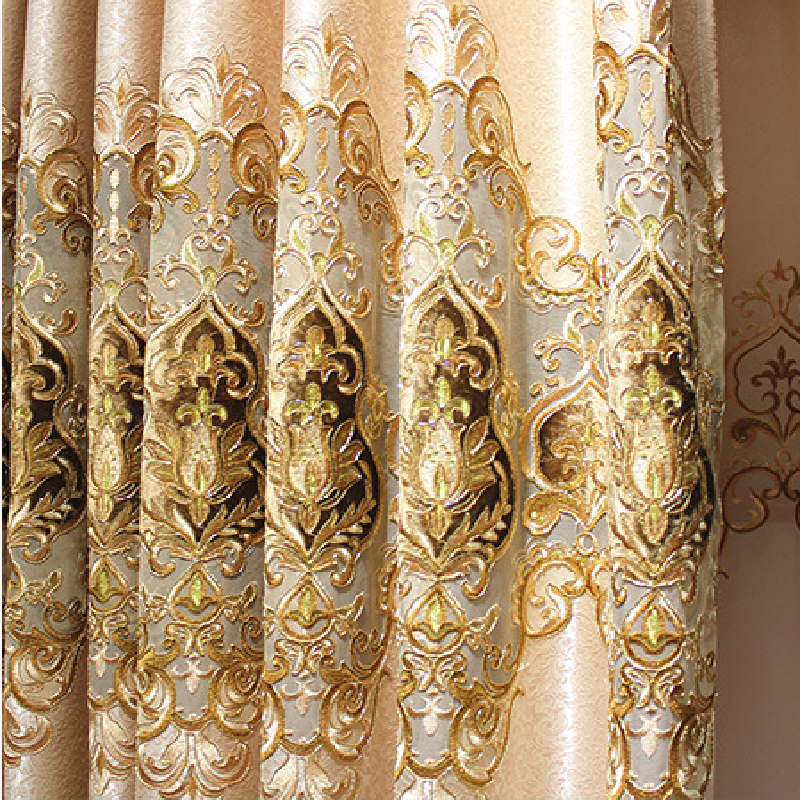 New European Curtains For Bedroom Luxury Elegant Embroidery Curtain For Living Room Kitchen French Window Drapes Shading Decor