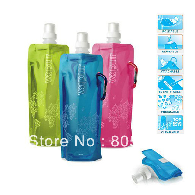 100PCS/CTN BPA Free Bike Foldable Collapsible Water Bag Bottles Carabiner Clip,FREE SHIPPING