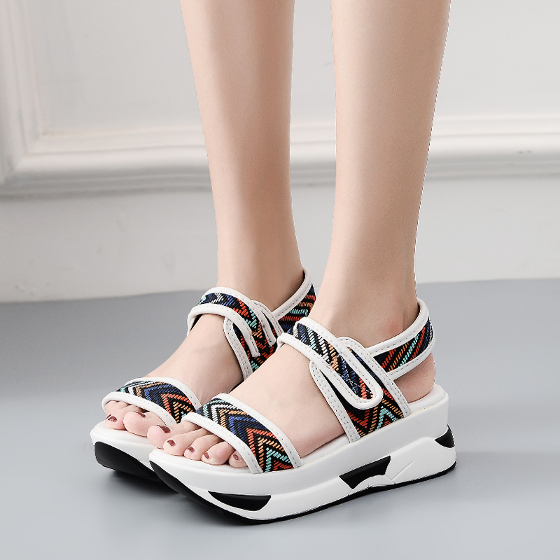 E TOY WORD Platform Women Sandals 2019 Summer Fashion Women Hook amp Loop Beach platform Sandals Increased Sandalias Size 40 43 in Women 39 s Sandals from Shoes