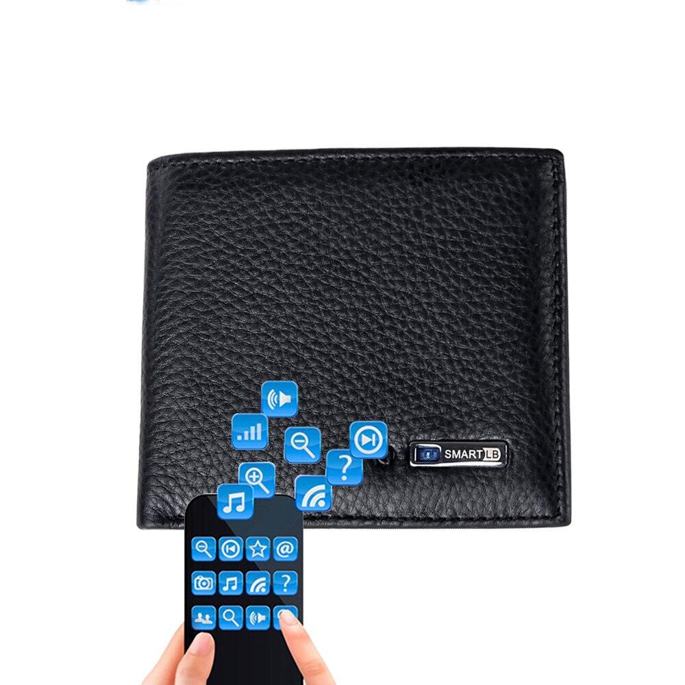 Astuto Del Raccoglitore Degli Uomini Del Cuoio Genuino di Alta Qualità Anti Perso Intelligente Bluetooth Supporti di Carta Della Borsa di Sesso Maschile Vestito per IOS, Android