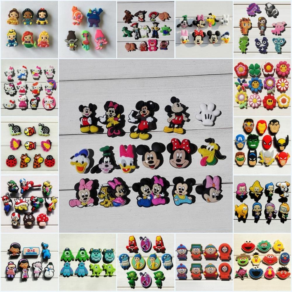 500pcs Mickey Princess Trolls Avengers Sesame Street PVC Shoe Charms Shoe accessories Buckles Fit Bands Bracelets