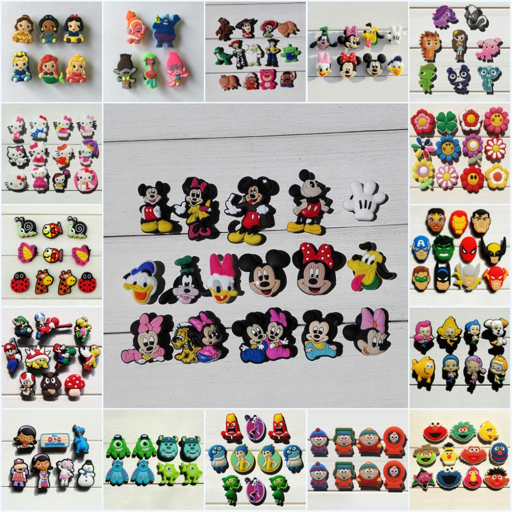 500Pcs Hello Kitty Trolls Tsum Tsum Sesame Street PVC Shoe Charms Shoe accessories Shoe Buckles Fit Bands Bracelets Croc JIBZ
