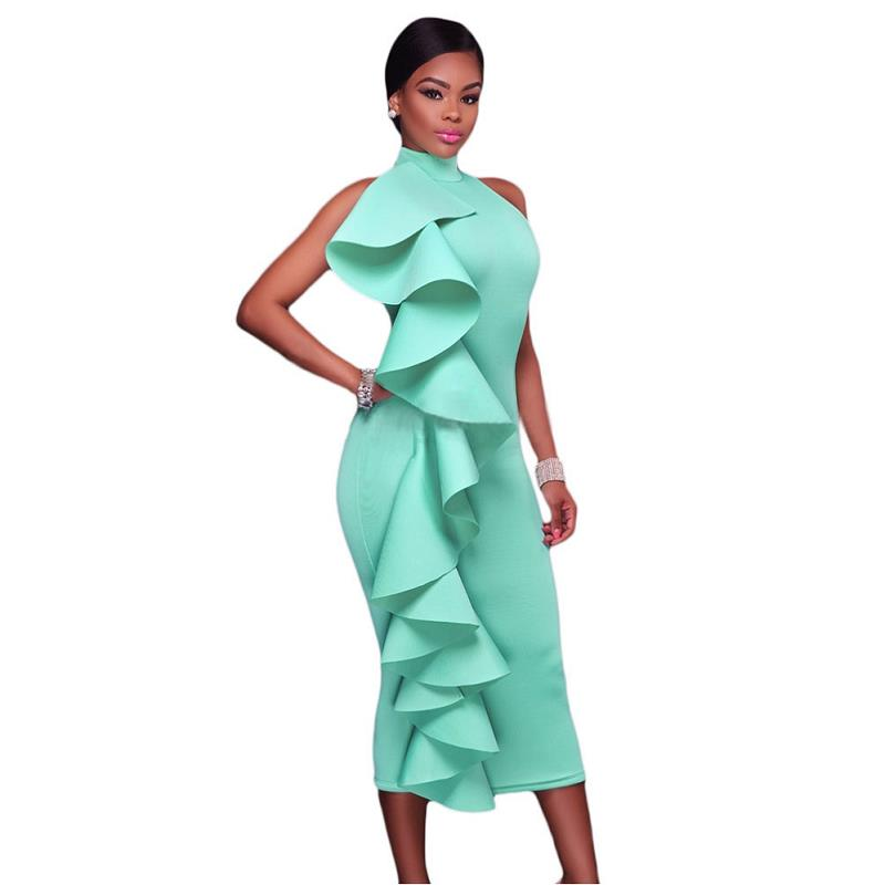ADEWEL 2017 Women Big Ruffles Midi Elegant Dress Sexy Open Back Bodycon Party Dress High Neck Vintage Pencil Dress 8