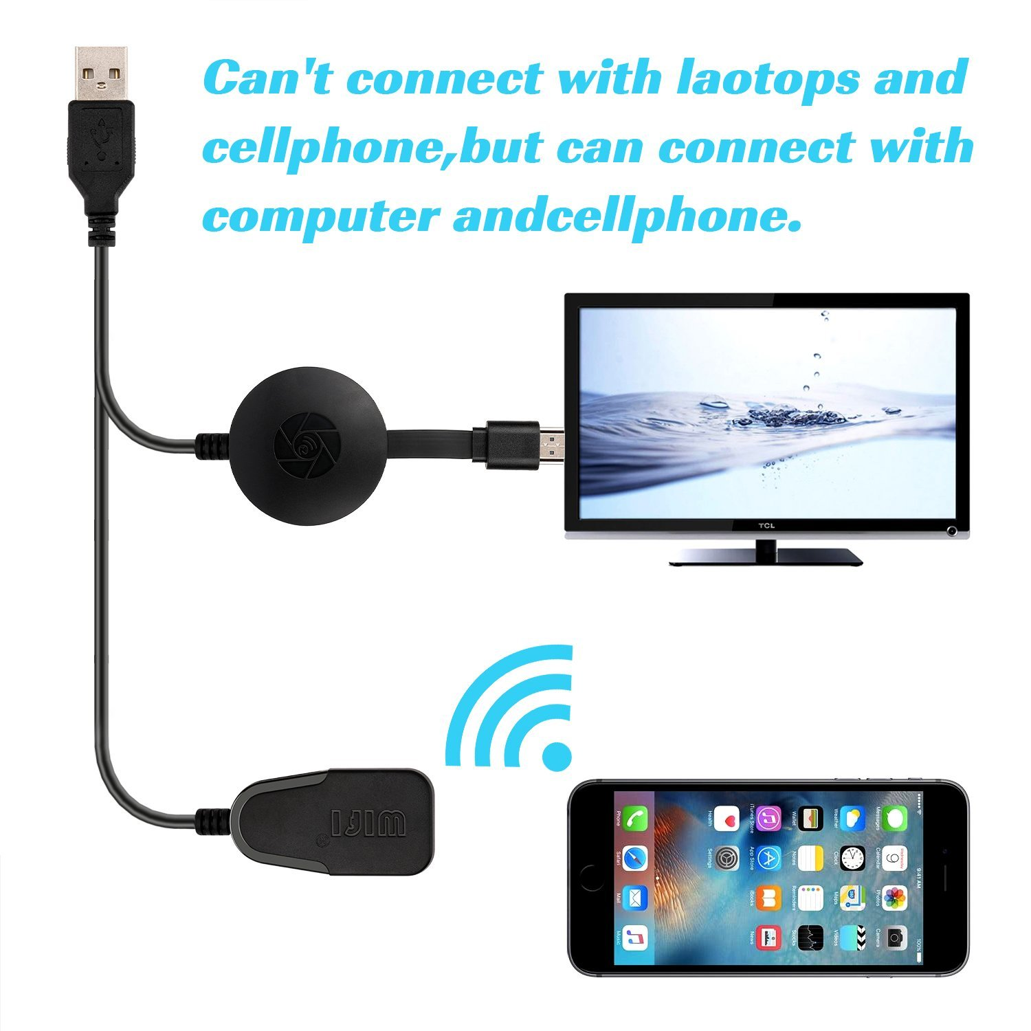 Wireless Display Dongle,WIFI Portable Display Receiver 1080P HDMI Miracast Dongle for iOS iPhone iPad/Mac/Android Smartphones