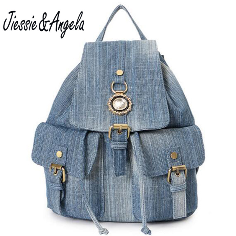 Jiessie Angela Hot New Sale Teenage Girls School Backpacks Vintage Women Backpack Denim Bag for Women