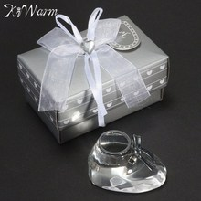 KiWarm Cute Crystal Craft Clear Crystal Baby Shoe For Baptism Souvenir with Box Wedding Birthday Party Decor Kid Gifts Craft