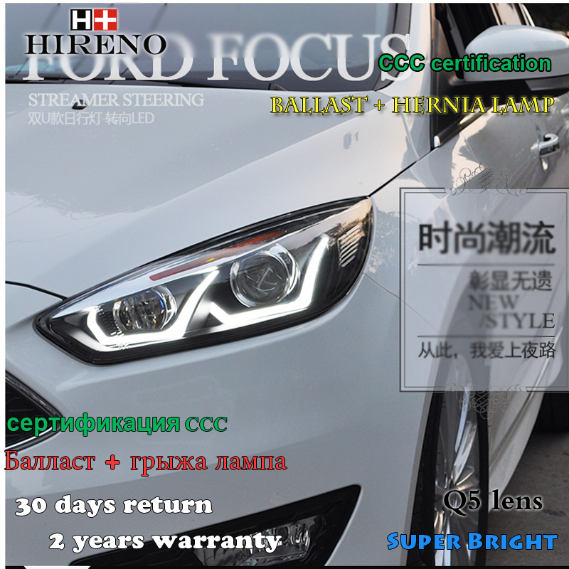 Hireno Car styling Headlamp for 2015-2017 Ford Focus Headlight Assembly LED DRL Angel Lens Double Beam HID Xenon 2pcs hireno headlamp for 2013 2015 nissan tiida headlight assembly led drl angel lens double beam hid xenon 2pcs