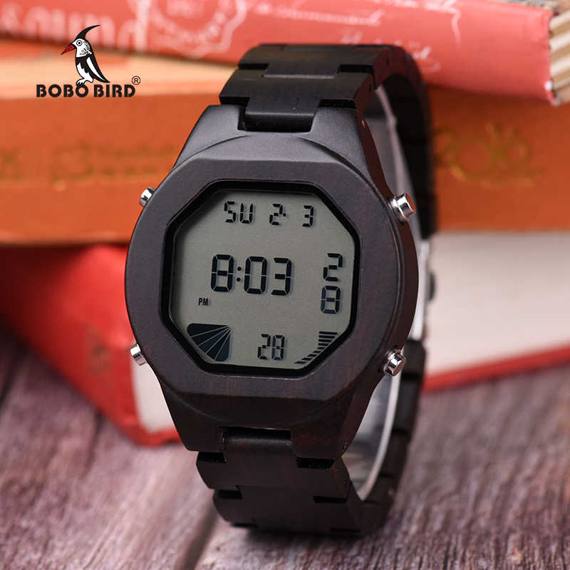 be4d7eb42 BOBO BIRD Q06 New Arrival Men's Wooden Watch Multifunction Sport LED  Digital Watches in Wood Gift
