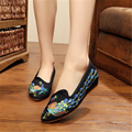 2017 spring ZIMNAFR Brand national wind woman flat shoes embroidered slope women's shoes comfortable high female canvas shoes
