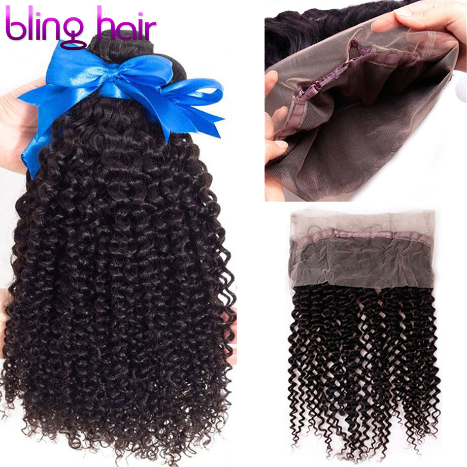Bling Hair Kinky Curly Hair Bundles with Closure 360 Lace Frontal Closure Peruvian Hair Weave Bundles 100% Human Hair Extension-in 3/4 Bundles with Closure from Hair Extensions & Wigs    1