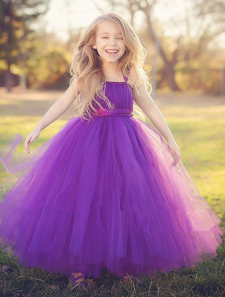 New 2017 tutu purple baby bridesmaid flower girl wedding dress tulle fluffy ball gown UK birthday evening prom cloth party dress silver gray purple pink blue ball gown tutu soft tulle puffy flower girl dress baby 1 year birthday dress with spaghetti straps