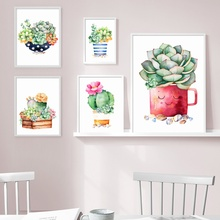 7-Space Modern Decoration Flower Cactus Print Poster Wall Art Canvas Painting Peinture Sur Toile Pictures For Living Room