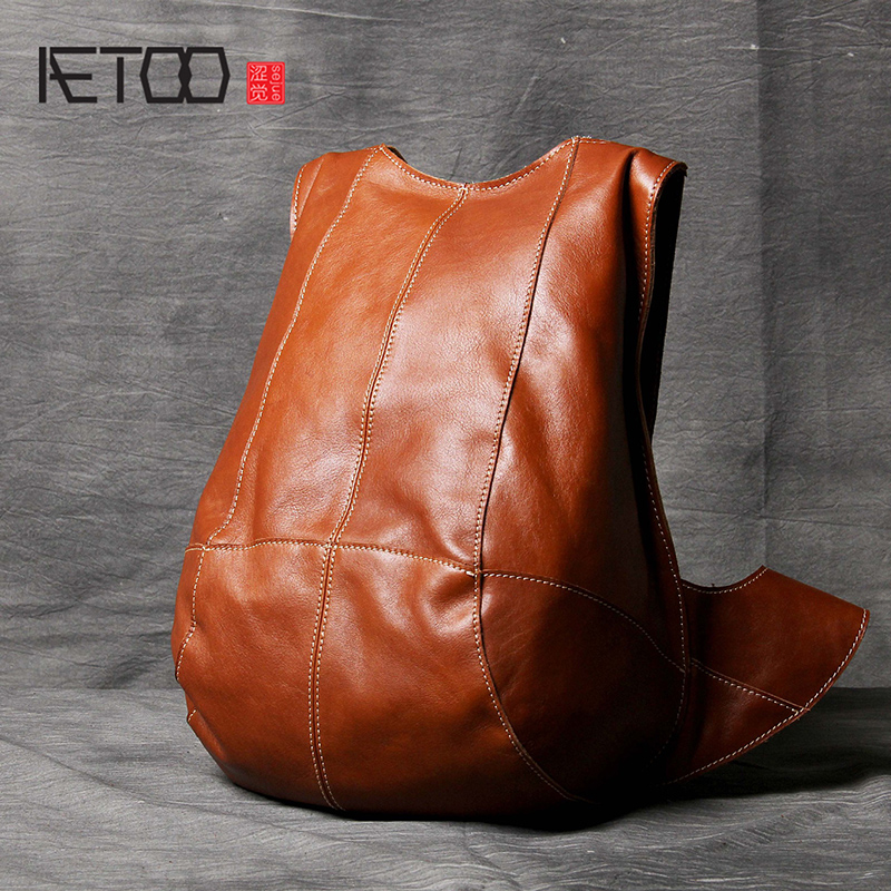 AETOO Personality anti theft double shoulder Baotou layer cowhide male and female leather backpack Classic Tortoise