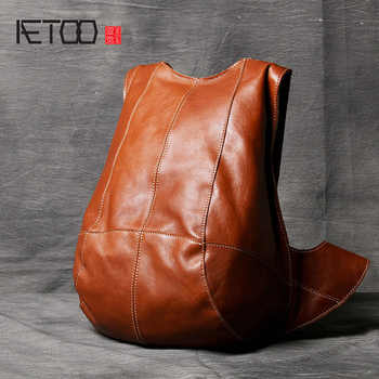 AETOO Personality anti-theft double shoulder Baotou layer cowhide male and female leather backpack Classic Tortoise Bag - DISCOUNT ITEM  50% OFF All Category