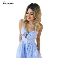 2017 Halter Black Summer Dress Women Blue Striped Backless Short Dress Boho Back Strap High Waist