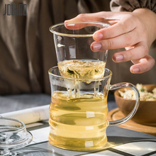 JOUDOO Creative Transparent Clear Glass Milk Mug Coffee Tea Cup Teapot Breif Home Office Drinkware With Infuser Filter&Lid35