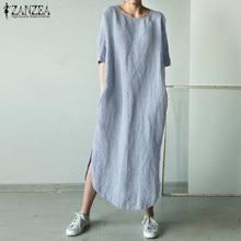 2021 zanzea feminino o pescoço manga curta vestido de verão sólido algodão linho dividir longo vestido feminino robe casual vestido de festa