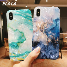 ELALA Glossy Marble Case For iphone 7 X Funny Pattern Glitter Conch Silicone Cover iPhone 6S 8 Plus XR XS Max Cases