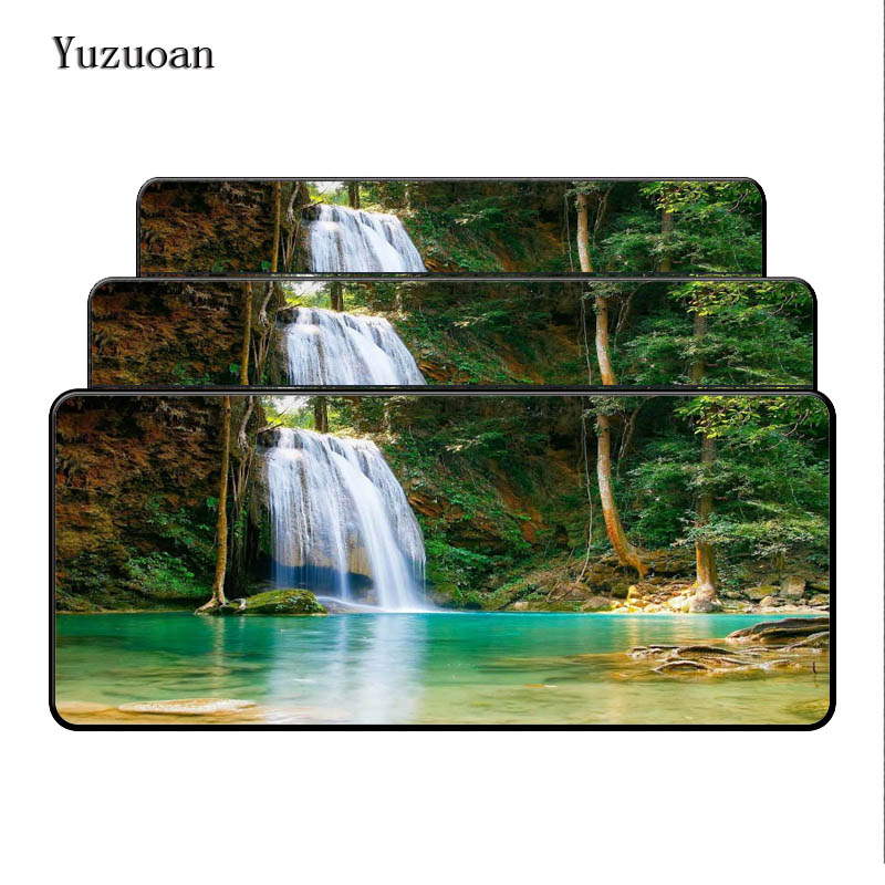 Yuzuoan Beautiful Waterfalls In Woods Rubber Soft gaming Large mouse Cool Games black mouse pad Black Overlock Mouse Pad