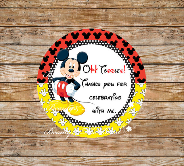 Mickey Mouse Stickers Cupcake Toppers Birthday Party