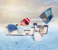Dvotinst Newborn Baby Photography Props Wooden Sailing Mini Boat Baby Photo Props Shooting Fotografia Accessory Infant Studio
