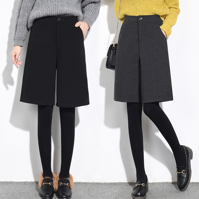 Autumn Winter Woolen   Shorts   Women Loose Wide Leg High Waist   Shorts   Feminino Classic Casual Thicken Plus Size XXL   Shorts   Femme