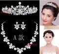 Joyería cristalina de la Boda fijó 3 unids/set corona collar de Perla de La flor Nupcial Del Pelo Headwear Joyería Rhinestone NE202 errar