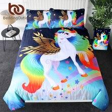 Beddingoutlet Eenhoorn Beddengoed Voor Tieners Gouden Gevleugelde Eenhoorn Spreien Rainbow Stars Fantasy Dekbedovertrek Kids Magische Bed Set