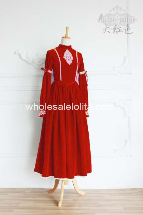 Высококачественное винтажное платье в стиле королевского двора, современное платье в викторианском стиле - Цвет: Красный