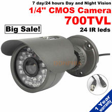 Outdoor Waterproof 700TVL CCTV Camera 1/4″CMOS Sensor 30pcs IR LEDs 7Days/24Hours Day and Night Vision IR security free shipping