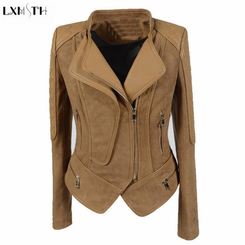 LXMSTH S-6XL Motorcycle   Suede   jacket Women Spring 2019 Short Slim PU Patchwork   Leather   Coat Punk Plus Size Ladies Casual jackets