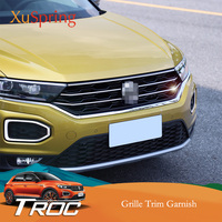 Car Front Hood Middle Billet Grille Mesh Horizontal Trim Styling Sticker Cover 5Pcs/Set For VW T Roc 2017 2018 2019