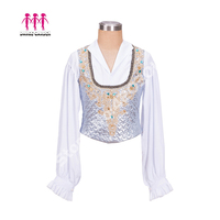 White Silver Professional Male Ballet Stage Jacket Man's Dance Costumes Boy's Ballet Tunic Coat Competition Tops Outwear B013