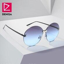 DENISA Vintage Rimless Big Round Sunglasses Women 2019 One P
