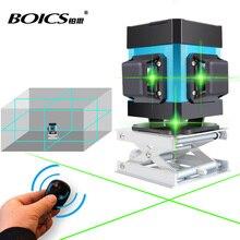 Livraison gratuite Boics laser ligne croisée 360 degrés niveau laser rotatif auto-nivelant 12 lignes 8V4H ligne niveleur avec télécommande sans fil