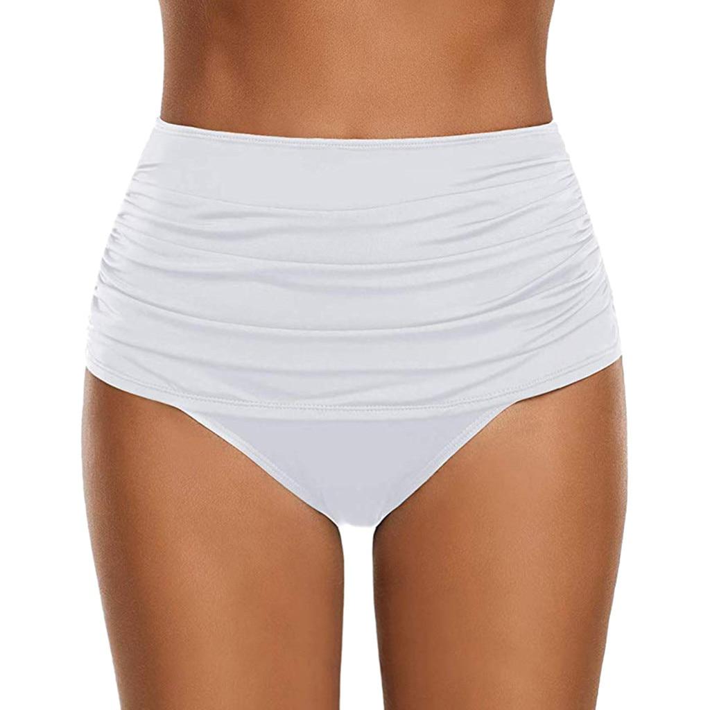 Бикини с завышенной талией, плавки, шорты, плиссированный белый купальный костюм, трусики танкини, Женская юбка для плавания, купальный кост...