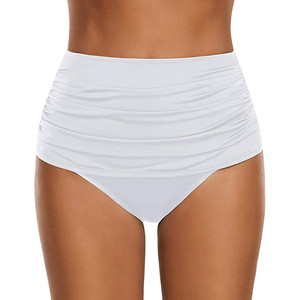 High Waisted Bikini Bottoms Swimwear Shorts Pleated White Bathing Suit Bottoms Tankini Women Swim skirt swimsuit Briefs panties