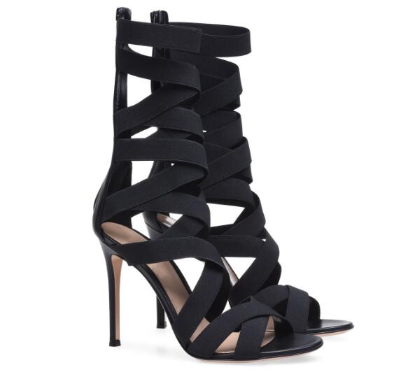 Black super high heel cross-tied sandals for woman Ladies thin heel zipper open toe cool boots Fashion party shoes Dress shoes asumer black apricot fashion summer ladies shoes cross tied peep toe high heel sandals shoes elegant wedding shoes thick heel