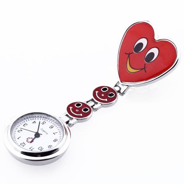 YCYS-Heart Quartz Movement Clip Nurse Brooch Fob Tunic Watch Smiley Face