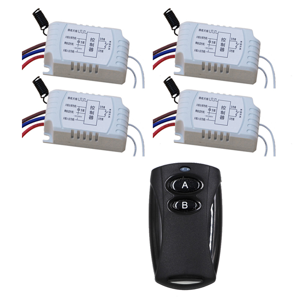 Free Shipping AC220V Wireless Remote Control Switch with Manual Button 4pcs Receiver and Transmitter Smart Home 315MHZ new design wireless ac220v remote control switch with manual button receiver for smart home 315 433mhz free shipping