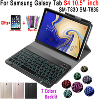 Case for Samsung Galaxy Tab S4 10.5 Keyboard Case T830 T835 SM T830 SM T835 Cover 7 Colors Backlit Bluetooth Keyboard Funda Tablets & e-Books Case     -