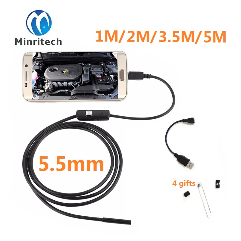 2017 New 5.5mm Lens Mircousb Android Otg Usb Endoscope Camera 1m 2m 3.5m 5m Waterproof Snake Pipe Inspection Borescope endoscope android 5 5mm lens mirc usb otg usb camera 1m 2m 3 5m 5m waterproof snake pipe inspection android usb borescope camera
