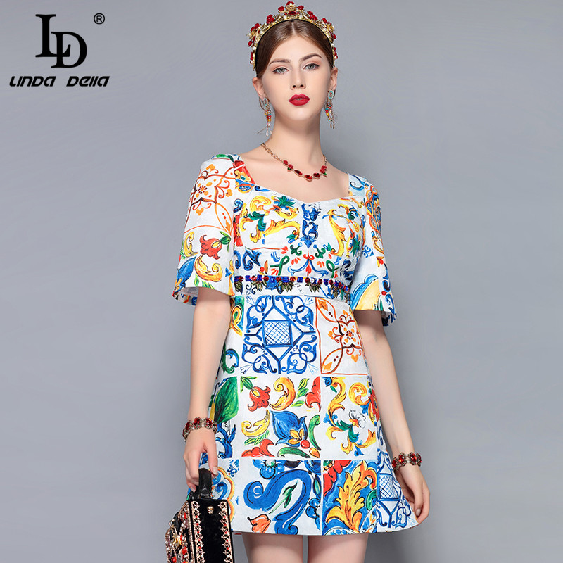 82f97304d43 LD LINDA DELLA 2018 Fashion Runway Summer Dress Women Short Sleeve Backless  Gorgeous Floral Print Crystal