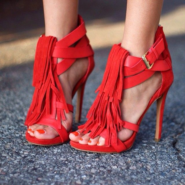 Fashion amazing hot red multi ankle buckle strap crisscross stiletto heel sandals nice fringe high heel sandals tassel pumps