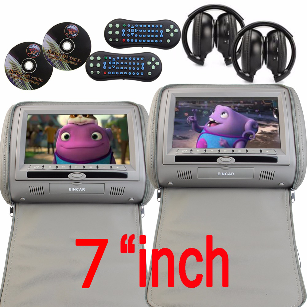 Pair of Headrest 7'' LCD Car Pillow Monitor CD DVD Player Dual Screens USB SD IR FM 32 Bit Games Zipper Cover with 2 IR Headsets
