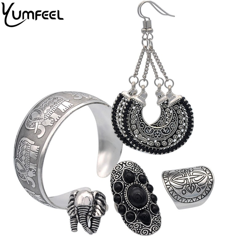 Yumfeel New Vintage Jewelry Set Boho Antique Silver Plated Elephant Ring Bracelet Earring Jewelry Sets for Women