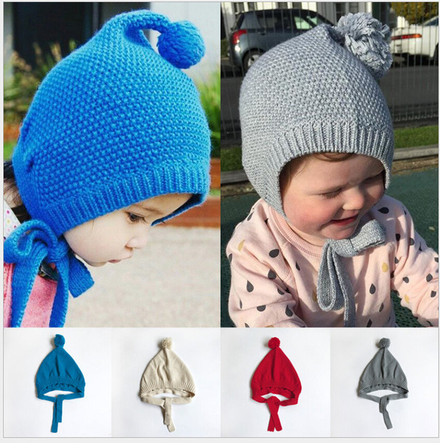 New Baby hat Toddler Kids Boy Girl Knitted Cotton Crochet Beanie earcuff hat  Winter keep Warm Hat Cap for outside lowest price 49a46dfe6742