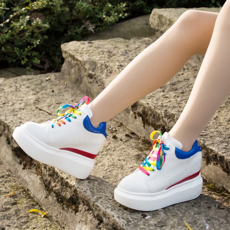 YIDAKU New Women Platform Shoes Spring Autumn Wedge Shoes Woman Thick Bottom Height Increasing Heel Shoes for Women